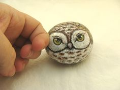 owl painted rocks | Painted Rocks, brown owl, woodland creature, home terrarium accent. by ...