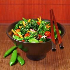 An Asian inspired Sesame Broccoli Snap Pea Salad