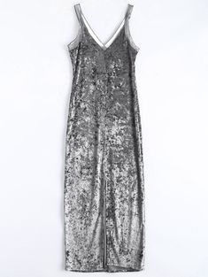 90's style Silver crushed velvet dress