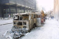 A destroyed fire truck on Sept. 14, 2001, near ground zero after the Sept. 11 attacks. (Stuart Ramson/AP)