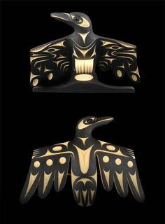 Raven Guarding the Light John Marston Northwest Coast (Coast Salish) Yellow cedar, paint, black jade