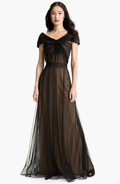 Tadashi Shoji Portrait Collar Pleated Mesh Gown available at #Nordstrom