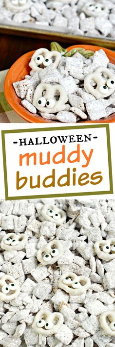 Looking for an easy Halloween treat? This Halloween Muddy Buddies recipe is the classic puppy chow recipe with some white chocolate pretzels made into mummies!
