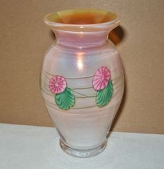 SMALL Exquisite LUNDBERG STUDIOS Opalescent IRIDESCENT Glass VASE One of a Kind