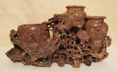 ANTIQUE VINTAGE HAND-CARVED CHINESE SOAPSTONE DRAGON AND BIRDS WITH THREE VASES