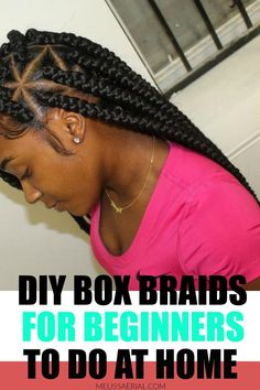How to style box braids for beginners. #boxbraids Long Natural Hair, Natural Hair Updo, Natural Hair Growth, Natural Hair Styles, African Hairstyles, Black Women Hairstyles, Cool Hairstyles, Box Braids Tutorial, Protective Hairstyles For Natural Hair