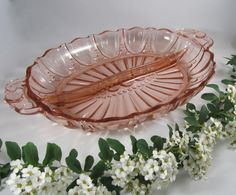 """Vintage Pink Depression Glass Serving Dish """"Oyster and Pearl"""" Divided Relish Tray """"Anchor Hocking"""" Retro Art Romantic Entertaining Gift by WillowValleyVintage on Etsy"""