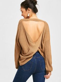 SHARE & Get it FREE | Drop Shoulder Twist Cut Out Sweater - Dark KhakiFor Fashion Lovers only:80,000+ Items • New Arrivals Daily Join Zaful: Get YOUR $50 NOW!