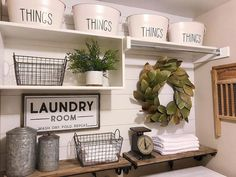 Love this inspired laundry room because, well, we all have laundry to do, right? So why not style it to please our decor senses! Thx for including our Canisters in your Farmhouse laundry room decor inspiration Laundry Room Shelves, Laundry Room Remodel, Farmhouse Laundry Room, Small Laundry Rooms, Laundry Room Organization, Laundry Room Design, Storage Shelves, Storage Ideas, Organization Ideas