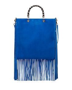 Bamboo Suede Fringe Shopper Tote Bag, Cobalt by Gucci at Neiman Marcus (Y-E-S.)