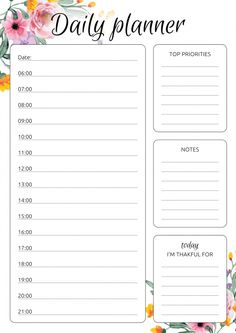 Set of 5 daily planner templates in different design. This bundle comes with: Floral Daily Hourly Planner Daily Schedule Hourly Planner Daily Hourly Planner Printable Daily Hourly Planner Template with Flowers Days Hourly Planner Weekly Hourly Planner, To Do Planner, Daily Planner Pages, Time Planner, Study Planner, Daily Planners, Weekly Agenda, College Planner, Personal Planners