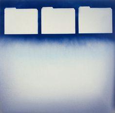 "Miriram Cabessa Three Folders,Oil and Spray Paint on Canvas,40""x40"" (100cm x 100cm)  2015"