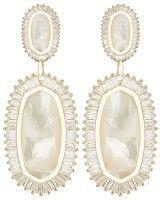 Kaki Baguette Earrings in Ivory Pearl