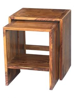 Made from solid tropical sheesham wood, this nest of two tables will be a great addition to your home. An added bonus is that the tables slot back together perfectly to minimize the use of space.