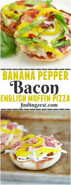 This easy Banana Pepper and Bacon English Muffin Pizza is a great way to enjoy pizza any time!