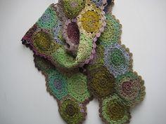 hexagon scarf using Noro sock or silk garden: http://attic24.typepad.com/weblog/2008/11/hexagon-crochet.html