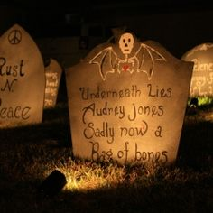 We wanted to individually light up the tombstones in our Halloween cemetery on a tight tight budget.  This is the tutorial.