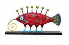 Papel maché...love this odd fish-lizard creature