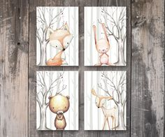 A set of 4 very cute prints of baby woodland animals in a forest setting. More details below