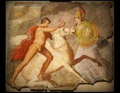 Belerofonte domando a Pegaso. Fresco Romano.