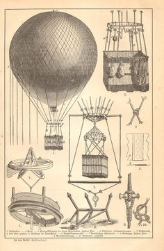 1890 Aviation Airplanes Captive Balloons by CabinetOfTreasures, $16.95