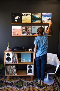 Best Vinyl Record Storage Ideas - Ways to Store Vinyl Records Vinyl Record Display, Vinyl Record Storage, Record Wall, Vinyl Records Decor, Record Player Console, Record Shelf, Vinyl Decor, Vynil Records, Record Decor