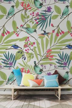 This gorgeous wallpaper design portrays exotic birds nipping at glossy pink berries. Ideal for dull hallway spaces, giving your home a colourful refresh with this whimsical wall mural. Combine with bright cushions and accessories to bring it all together. Bird Wallpaper, Modern Wallpaper, Designer Wallpaper, Tropical Wallpaper, Bedroom Wallpaper, Wallpaper Designs, Wallpaper Wallpapers, Wallpaper Ideas, Van Gogh Tapete