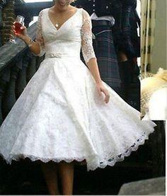 New sexy lace bridal gown v-neck half sleeve tea length wedding dress custom4-22