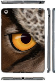 """Amazon.com: Brown, Black, and Orange {Realistic Fur Owl Animal Eye} Soft and Smooth Silicone Cute 3D Fitted Bumper Back Cover Gel Case for iPad Mini 1, 2 and 3 by Apple """"Durable and Slim Flexible Fashion Cover with Amazing and Creative Cartoon Design - All Ports Accessible"""": Computers & Accessories"""