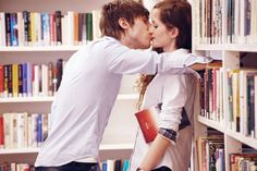 Sneak a kiss while we're at the library... so I know it's real...