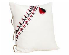 Big Decorative Pillow / Traditional Romanian motifs / Many pillows can be tied together  #hora #Romanian #dancers #pillow #comfy #cozy #soft #home #deco #traditional #bindings #Maramures