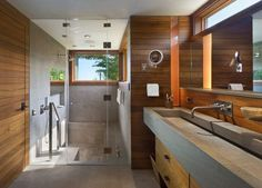 Engaging Trough Sink home interior design Contemporary Bathroom New York Tub Shower Combo, Bathtub Shower, Bath Tub, Huge Shower, Shower Door, Glass Shower, Sauna Design, Bath Design, Sunken Bathtub