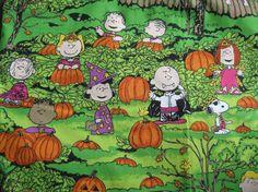 Halloween Fabric-Its The Great Pumpkin, Charlie Brown Fabric-Trick or Treat Fabric-Halloween Cotton Fabric via Etsy