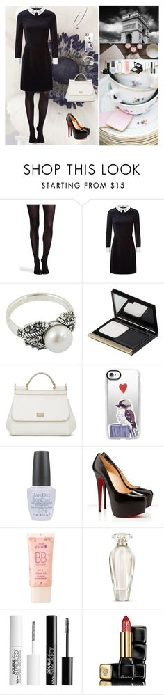 """Black And White Silhouette👠"" by oksana-kolesnyk ❤ liked on Polyvore featuring SPANX, Ted Baker, NOVICA, Kevyn Aucoin, Dolce&Gabbana, Casetify, OPI, Christian Louboutin, 100% Pure and Victoria's Secret"
