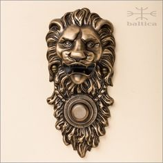 Davide Lion bell button - antique bronze - Custom Door Hardware. Hand-crafted by the master artisans of Baltica Hardware in Europe. www.balticacustomhardware.com