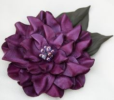 Purple leather flower pin brooch amethyst by Leatherblossoms, $38.40