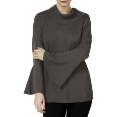 GIFT Sweater BLACK COMBO Boat Neck Flare Hem Top    MSRP $59.50 STYLE /& CO