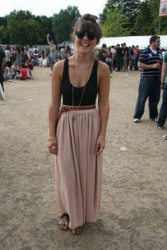 leotard and long skirt, good festival attire.