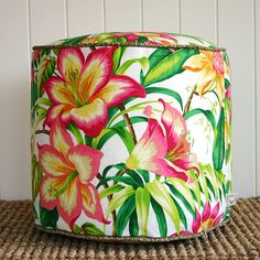 Tropical Hibiscus Flower pouf ottoman floor by SquareFoxDesigns