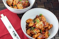 General Tso' Chicken-about 236 cals per serving - in addition to other healthier recipes.