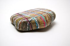 plaid painted stone by Amy Komar