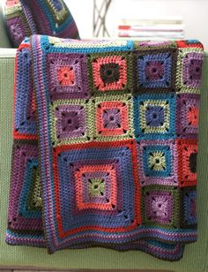 Yarnspirations.com - Patons Bright Squares Blanket and Pillow - Patterns | Yarnspirations FREE PATTERN