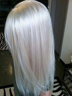 Platinum blonde hair color on long hair