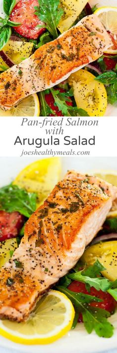 Here's a real low calorie meal idea...pan-fried salmon with arugula salad. Perfectly cooked pan-fried salmon with a crispy skin and tender flesh.