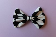 Elegant Black and White Hair Bow Clip by EverlastingEsly on Etsy