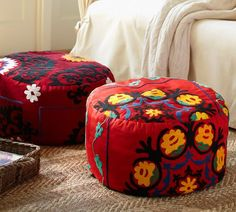 PB Found Embroidered Suzani Floor Seating Covers   Red | Pottery Barn      Library
