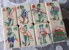 Vtg, Set of Eight Bone & Bamboo Mahjong Tiles, Flower Orphans, Maiden, Mah Jongg