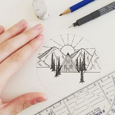 Idea?: wall of small geometric ink drawings for a room. All black and white?