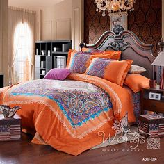 ORANGE PAISLEY King/Queen/Double Bed Quilt/Doona/Duvet Cover Set 100% Cotton 3PC