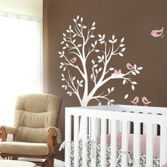 Tree with Birds and Nest Decal -